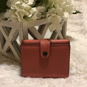 NWT Coach 1941 Bright Coral Small Trifold Wallet